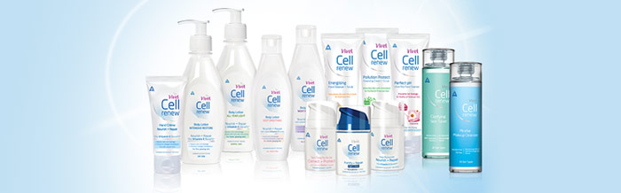 Image depicting ITC's Vivel Cell Renew range of personal care products