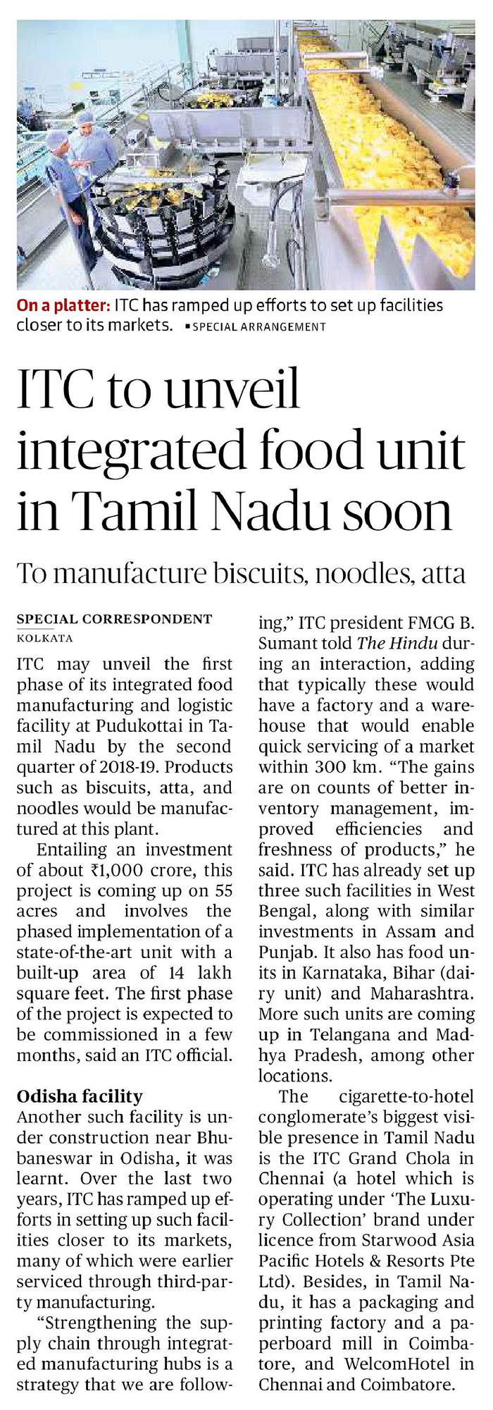 ITC to unveil integrated food unit in Tamil Nadu soon